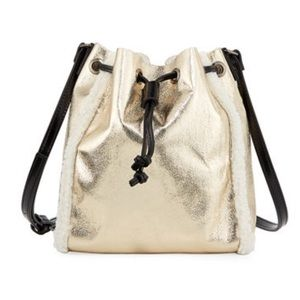 Nieman Marcus shearling drawstring bag